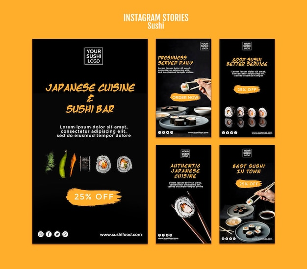 Histoires instagram de sushi