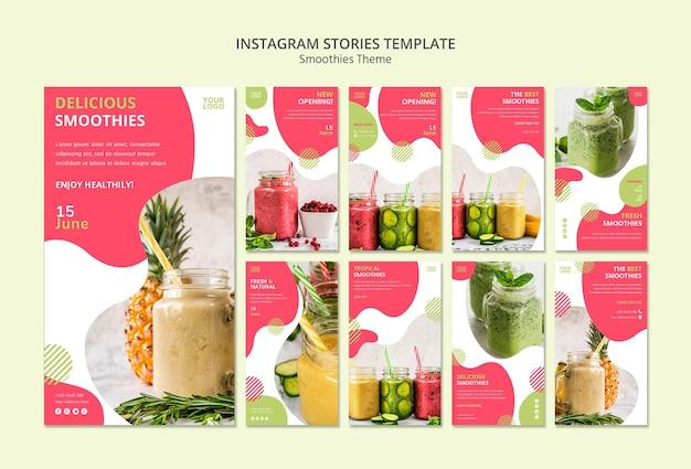 Histoires instagram sur le thème des smoothies