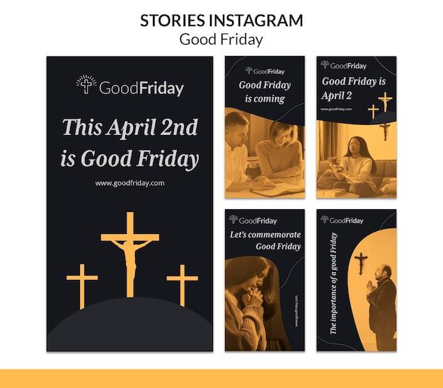 Histoires instagram de vendredi saint avec photo