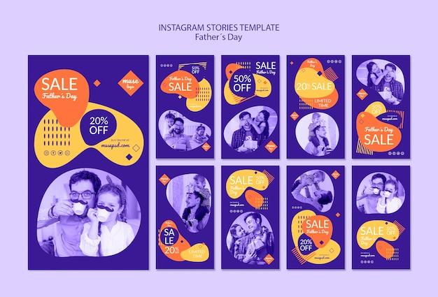 Histoires instagram avec des ventes le jour de la fête des pères