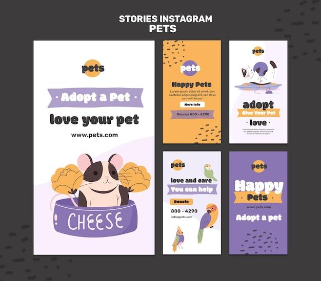 Histoires de médias sociaux sur l'adoption d'animaux de compagnie