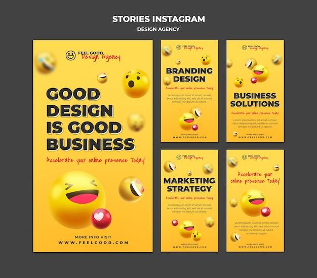 Histoires de médias sociaux d'agences de design