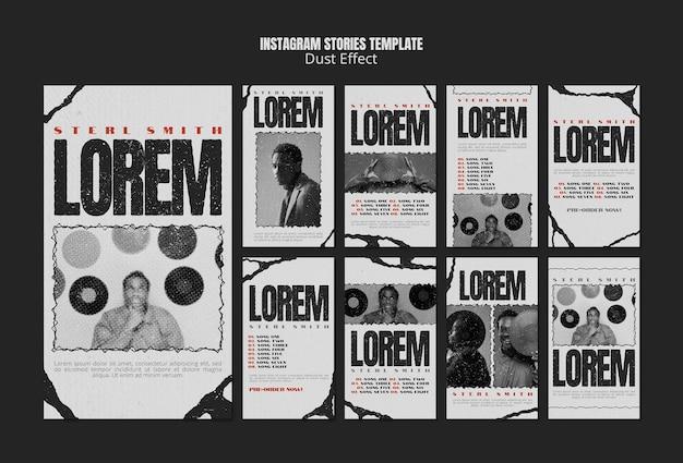 Histoires De Médias Sociaux D'album De Musique Avec Effet De Poussière PSD Premium