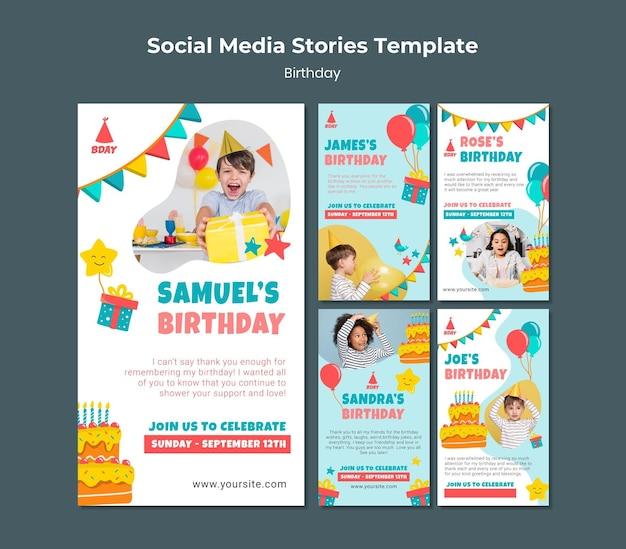 Histoires de médias sociaux d'anniversaire d'enfant