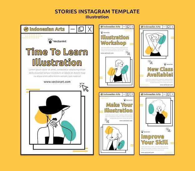 Histoires de médias sociaux de l'atelier d'illustration