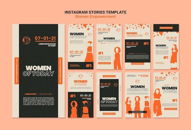 Histoires sur les médias sociaux sur l'autonomisation des femmes