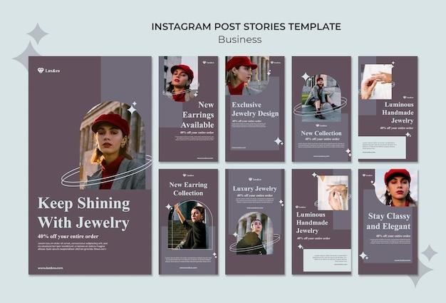 Histoires de médias sociaux de bijoux de mode