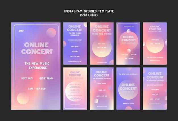 Histoires de médias sociaux de concert en ligne