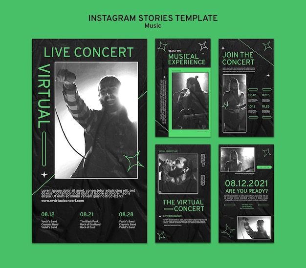 Histoires de médias sociaux de concerts virtuels