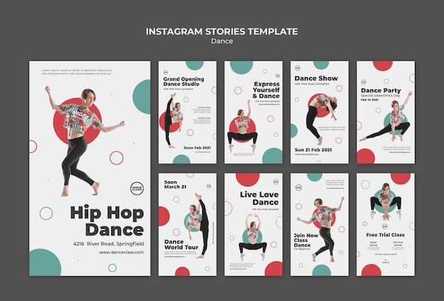 Histoires sur les médias sociaux des cours de danse