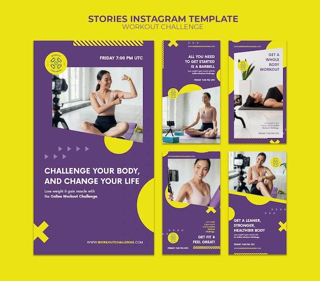 Histoires de médias sociaux de défi d'entraînement