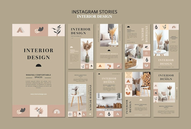 Histoires de médias sociaux sur le design d'intérieur