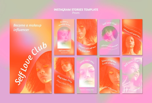Histoires de médias sociaux du club d'amour de soi dégradé