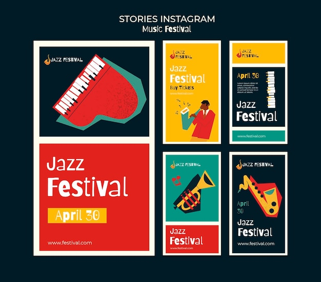 Histoires De Médias Sociaux Du Festival De Musique PSD Premium