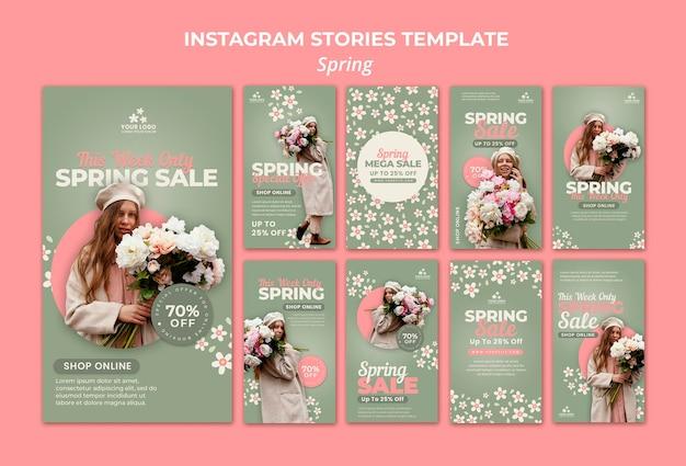 Histoires sur les médias sociaux du printemps