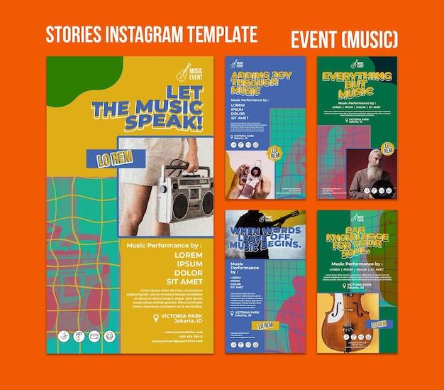 Histoires de médias sociaux d'événements musicaux