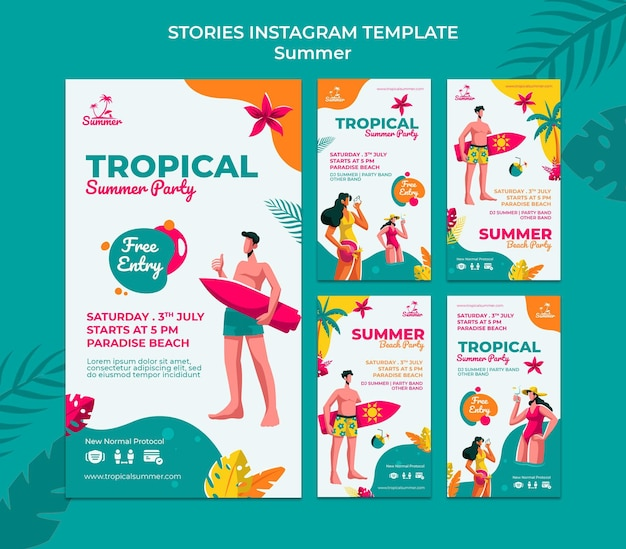 Histoires de médias sociaux sur la fête d'été tropicale