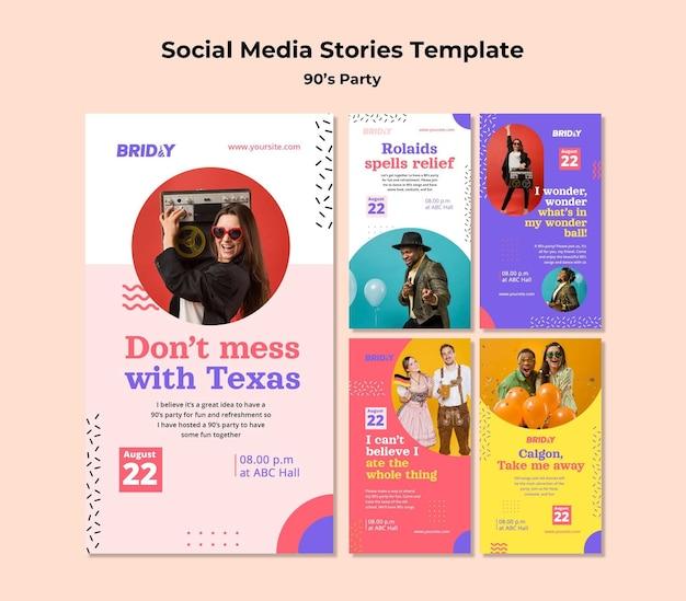 Histoires de médias sociaux de fête rétro des années 90