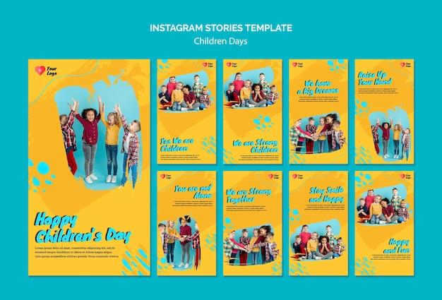 Histoires de médias sociaux de la journée des enfants