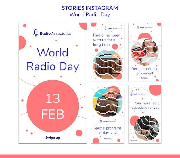 Histoires sur les médias sociaux de la journée mondiale de la radio