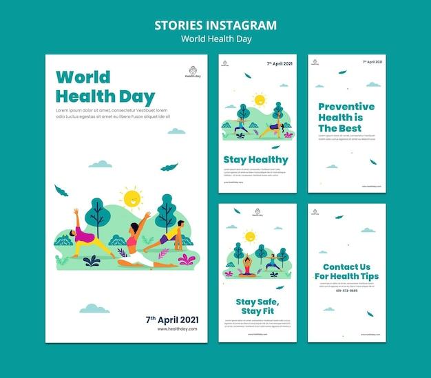 Histoires sur les médias sociaux de la journée mondiale de la santé