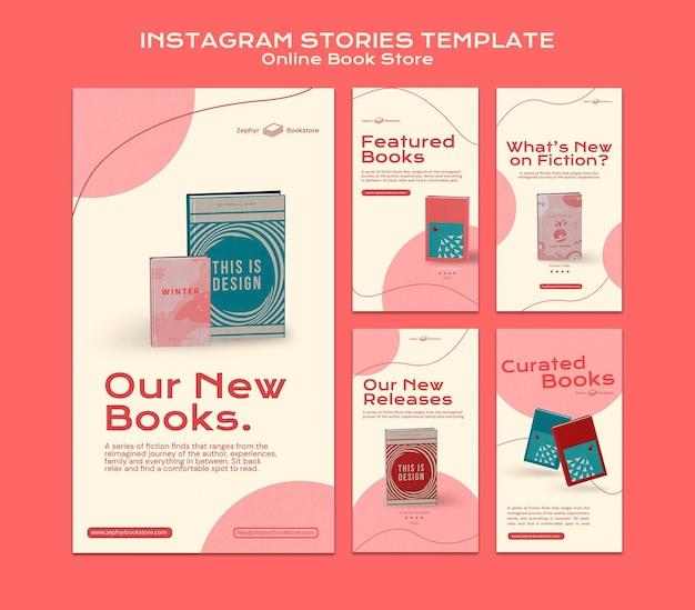 Histoires de médias sociaux de librairie en ligne