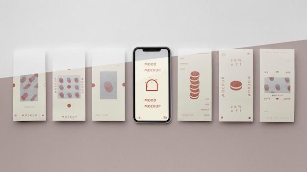 Histoires de médias sociaux et maquette de smartphone