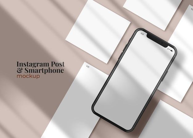 Histoires de médias sociaux et modèle de publication sur une maquette de smartphone