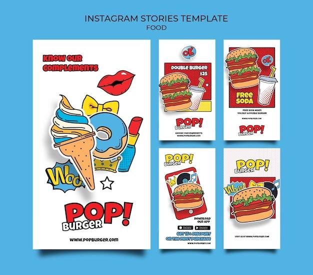 Histoires de médias sociaux de nourriture pop art