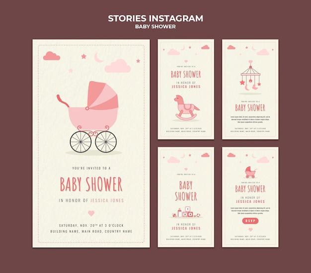 Histoires sur les médias sociaux pour la douche de bébé