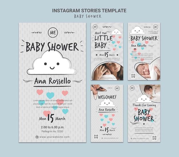 Histoires de médias sociaux pour la douche de bébé