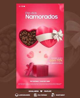 Histoires de médias sociaux saint valentin avec campagne de cœur au chocolat au brésil