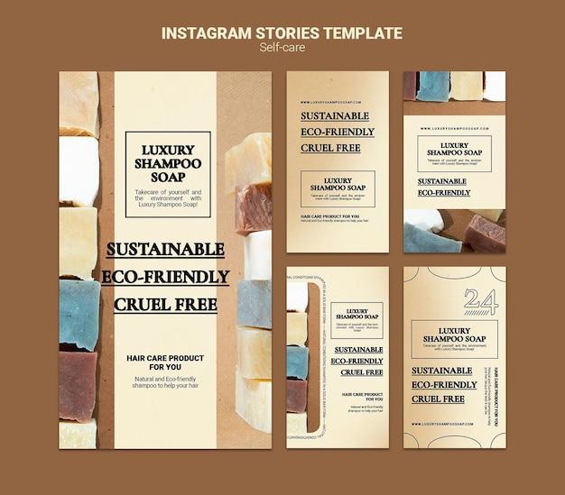 Histoires de médias sociaux de savon de shampooing