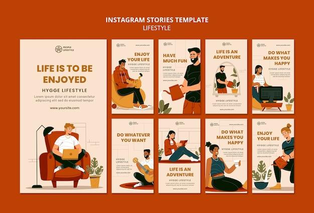 Histoires de médias sociaux de style de vie