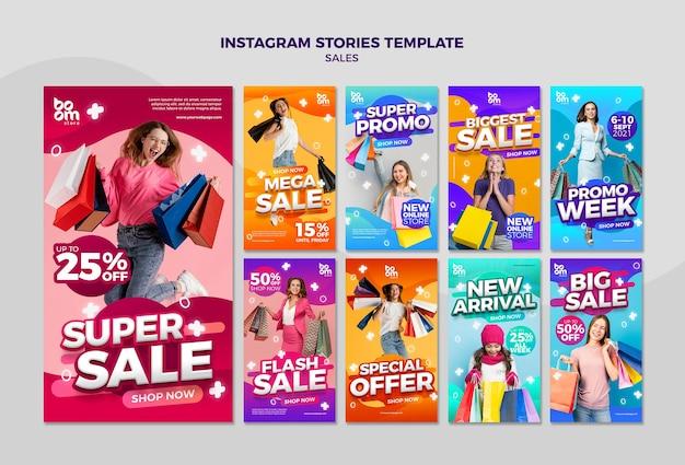 Histoires de médias sociaux de vente modernes
