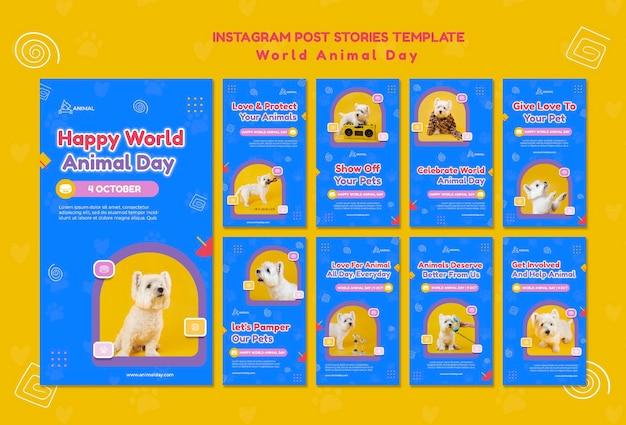 Histoires sur les réseaux sociaux de la journée mondiale des animaux