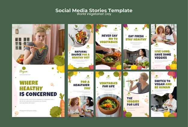 Histoires sur les réseaux sociaux de la journée mondiale des végétariens