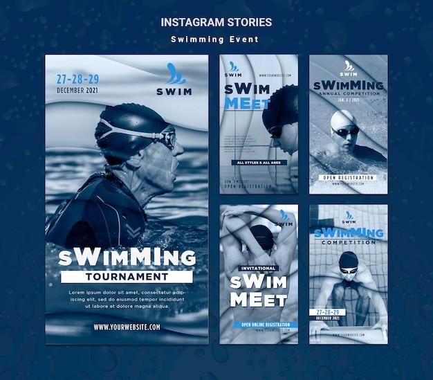 Histoires sur les réseaux sociaux de natation