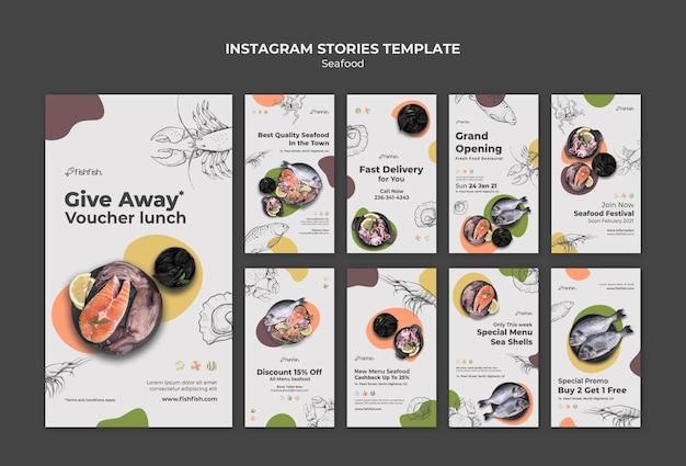 Histoires sur les réseaux sociaux des restaurants de fruits de mer