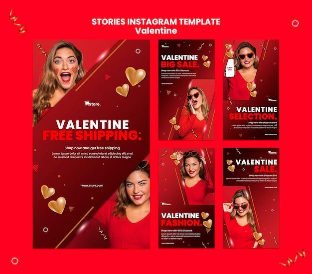 Histoires sur les réseaux sociaux des ventes de la saint-valentin
