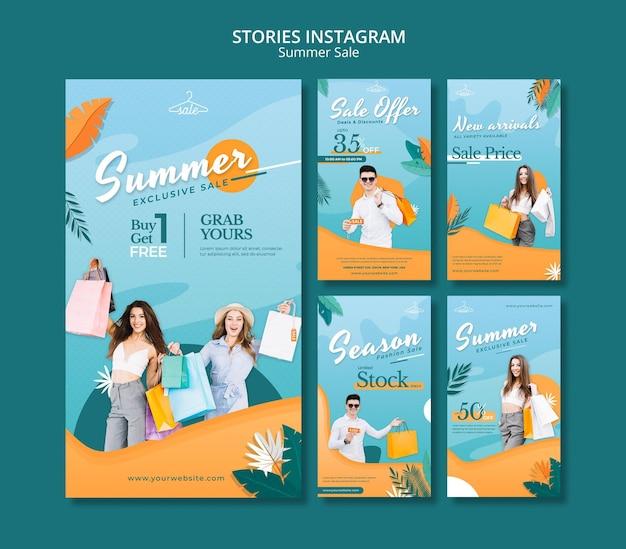 Histoires des ventes d'été sur les réseaux sociaux