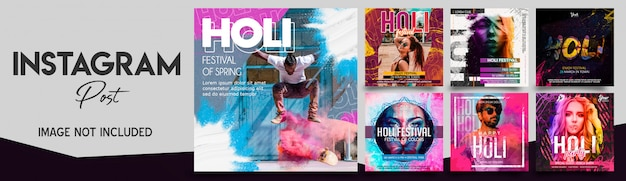 Holi festival instagram post bundle