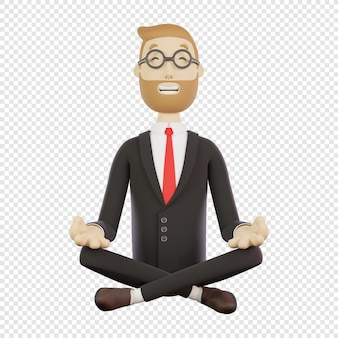 Homme d'affaires 3d avec des lunettes médite en position du lotus caractère 3d isolé