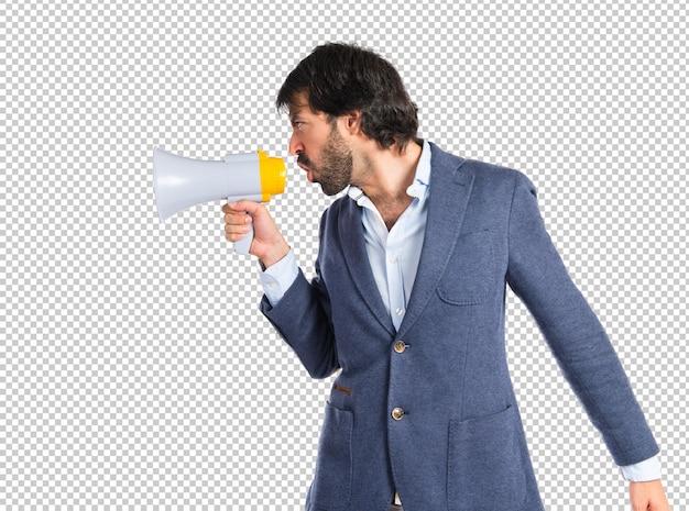 Homme affaires, crier, isolé, blanc, fond