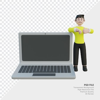 Homme d'affaires debout à côté de l'ordinateur portable rendu 3d