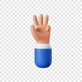 Homme d'affaires de dessin animé main geste de quatre doigts
