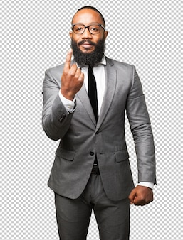Homme d'affaires noir numéro un signe
