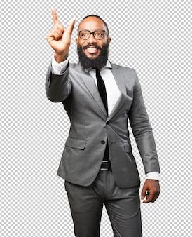Homme d'affaires noir touchant l'écran