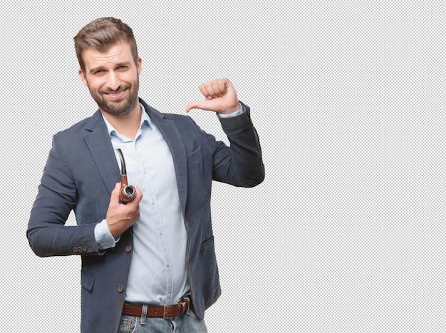 Homme d'affaires avec une pipe