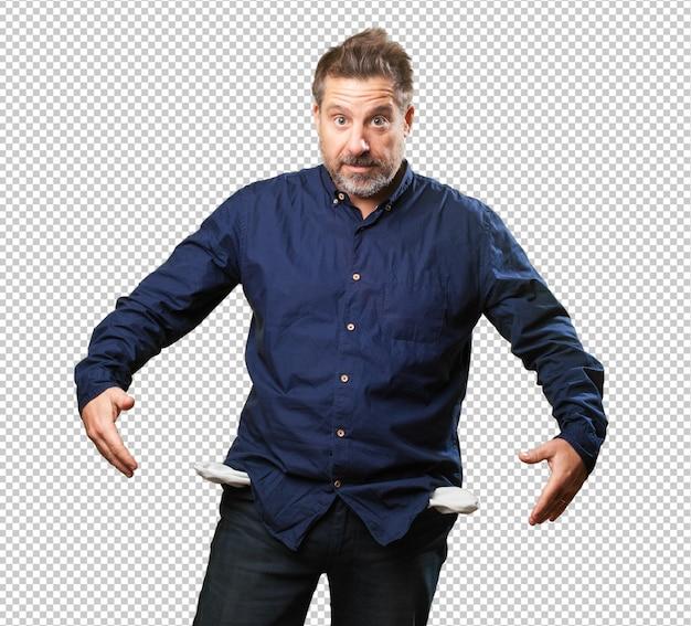 Homme d'âge moyen avec des poches vides